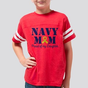 Navy Mom Proud Of Daughter Youth Football Shirt