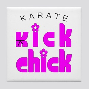 Karate Kick Chick Tile Coaster