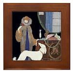 Art Deco White Borzoi Framed Tile