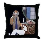 Art Deco White Borzoi Throw Pillow