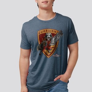 GOTG Animated Rocket Badge Mens Tri-blend T-Shirt