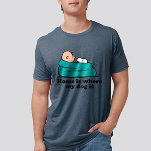 Snoopy - Home is where my d Mens Tri-blend T-Shirt