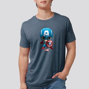 Chibi Captain America Mens Tri-blend T-Shirt