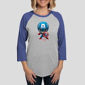 Chibi Captain America Womens Baseball Tee