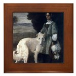 Victorian Painting White Borzoi Framed Tile