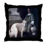 Victorian Painting White Borzoi Throw Pillow