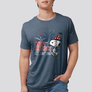 Snoopy - Happy B-Day Americ Mens Tri-blend T-Shirt