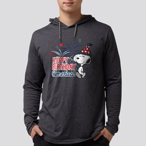 Snoopy - Happy B-Day America Mens Hooded Shirt