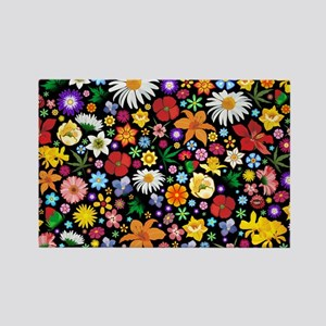 Spring Flowers Pattern Rectangle Magnet