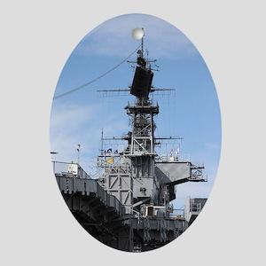 Navy Ship Oval Ornament