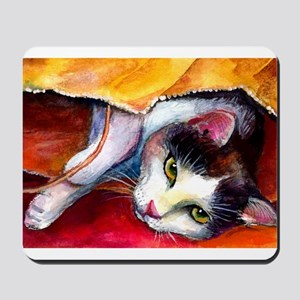 Tabby Cat in a bag Mousepad