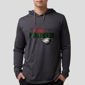 Heart Belongs to Soldier Mens Hooded Shirt