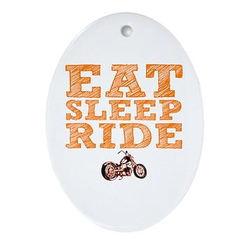Eat Sleep Ride Oval Ornament
