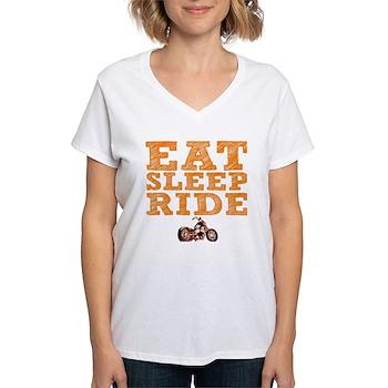 Eat Sleep Ride Women's V-Neck T-Shirt