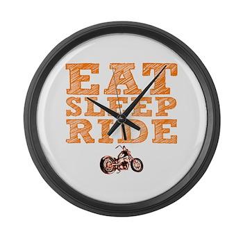 Eat Sleep Ride Large Wall Clock