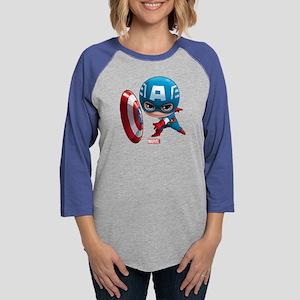 Chibi Captain America 2 Womens Baseball Tee
