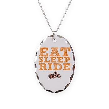 Eat Sleep Ride Necklace Oval Charm