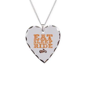 Eat Sleep Ride Necklace Heart Charm