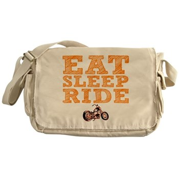 Eat Sleep Ride Canvas Messenger Bag