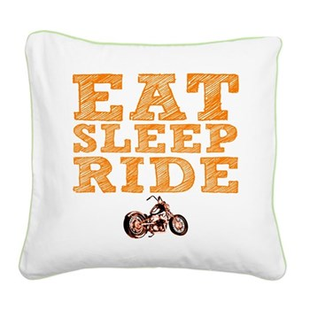Eat Sleep Ride Square Canvas Pillow
