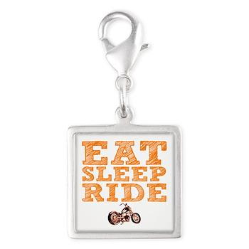 Eat Sleep Ride Silver Square Charm