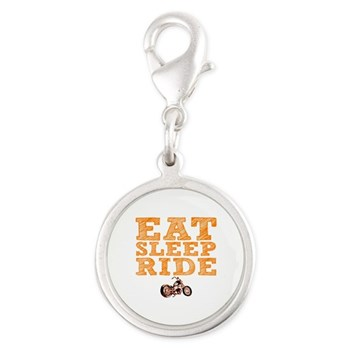 Eat Sleep Ride Silver Round Charm