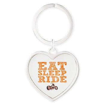 Eat Sleep Ride Heart Keychain