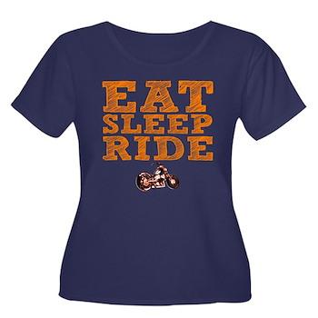 Eat Sleep Ride Women's Dark Plus Size Scoop Neck T