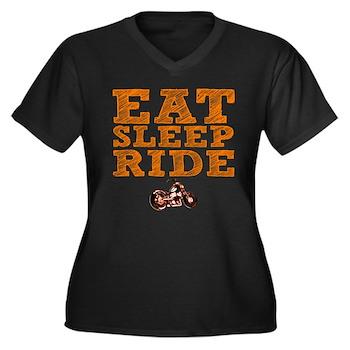Eat Sleep Ride Women's Dark Plus Size V-Neck T-Shi