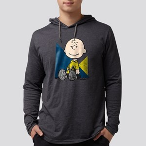 Charlie Brown Sitting Mens Hooded Shirt