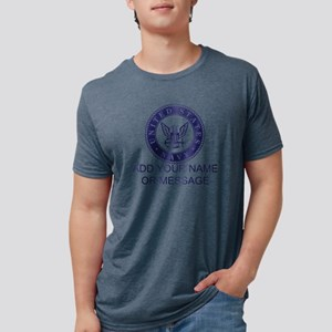 PERSONALIZED US Navy Blue W Mens Tri-blend T-Shirt