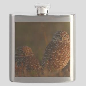burrowing owl couple Flask