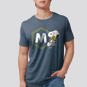 Snoopy Woodstock Monogramme Mens Tri-blend T-Shirt
