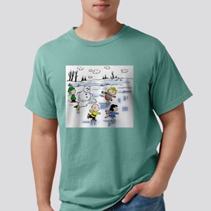peanut gang snow scene Mens Comfort Colors Shirt