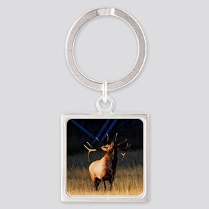Elk Charging Square Keychain