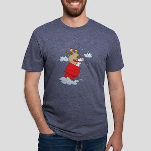 Flying Ace Santa Dark Mens Tri-blend T-Shirt