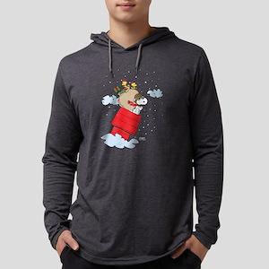 Flying Ace Santa Dark Mens Hooded Shirt