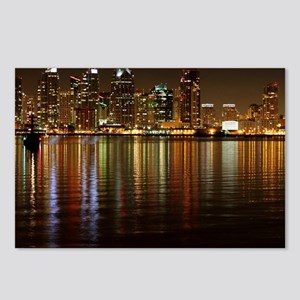 San Diego Skyline Night Postcards (Package of 8)