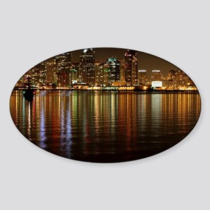 San Diego Skyline Night Sticker (Oval)