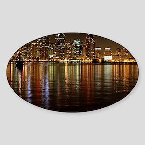 San Diego Skyline Night Sticker (Oval)