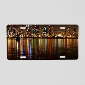 San Diego Skyline Night Aluminum License Plate