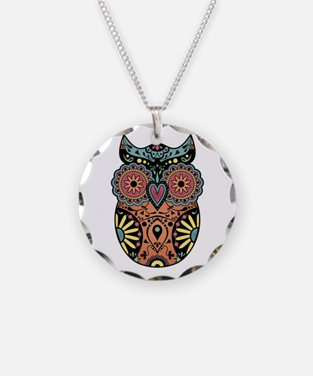 Sugar Skull Owl Color Necklace Circle Charm