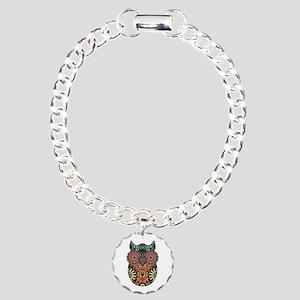 Sugar Skull Owl Color Charm Bracelet, One Charm