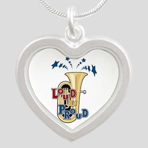 Loud Tuba Silver Heart Necklace