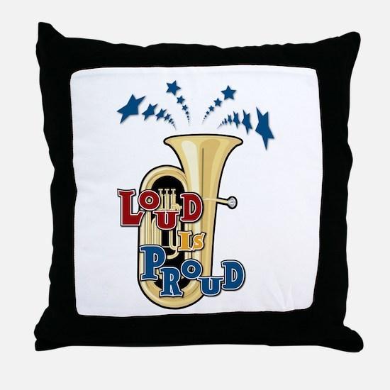 Loud Tuba Throw Pillow