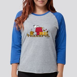 Peanuts - Be Thankful Womens Baseball Tee
