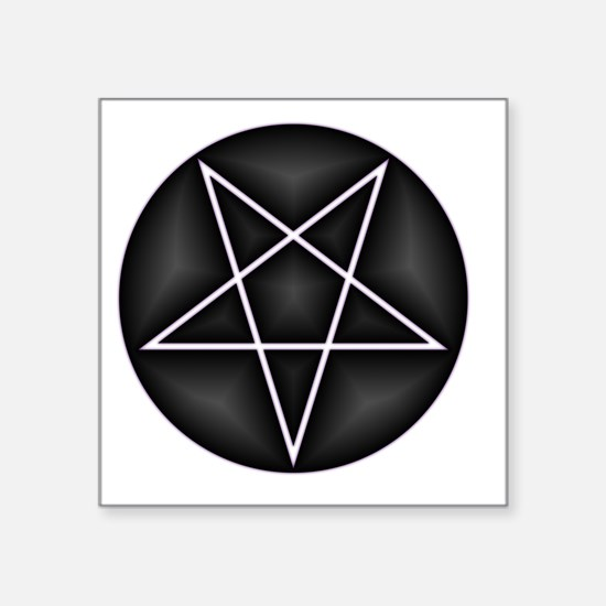 "Silver Pentacle Square Sticker 3"" x 3"""