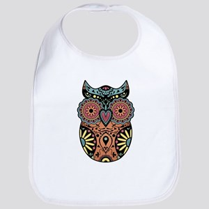 Sugar Skull Owl Color Baby Bib