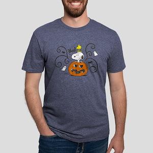 Peanuts Snooky Sketch Pumpk Mens Tri-blend T-Shirt