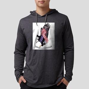 Disabled Veteran Eagle and Ribbo Mens Hooded Shirt